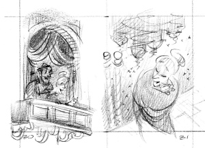 Thumbnail sketch for pp 30/31.  The opera box scene was dropped.