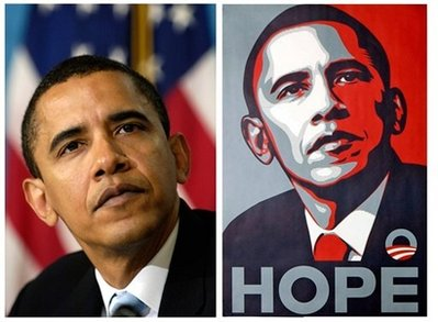 That's the AP photo on the left, Shepard Fairey's poster on the right.